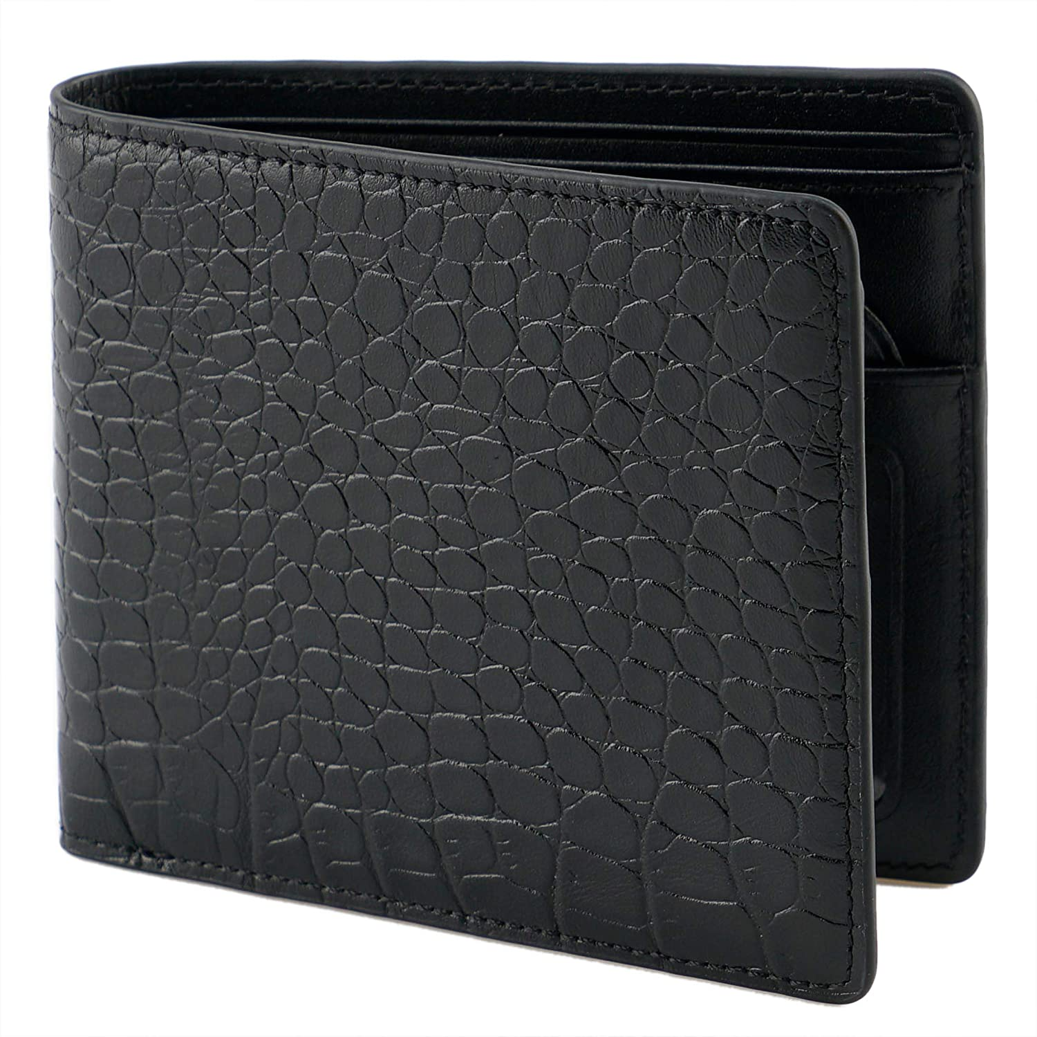 204df7e601 Lethnic Mens Bifold Wallet Vertical/Horizontal, Crocodile Embossed Cowhide  Genuine Leather, Super Slim