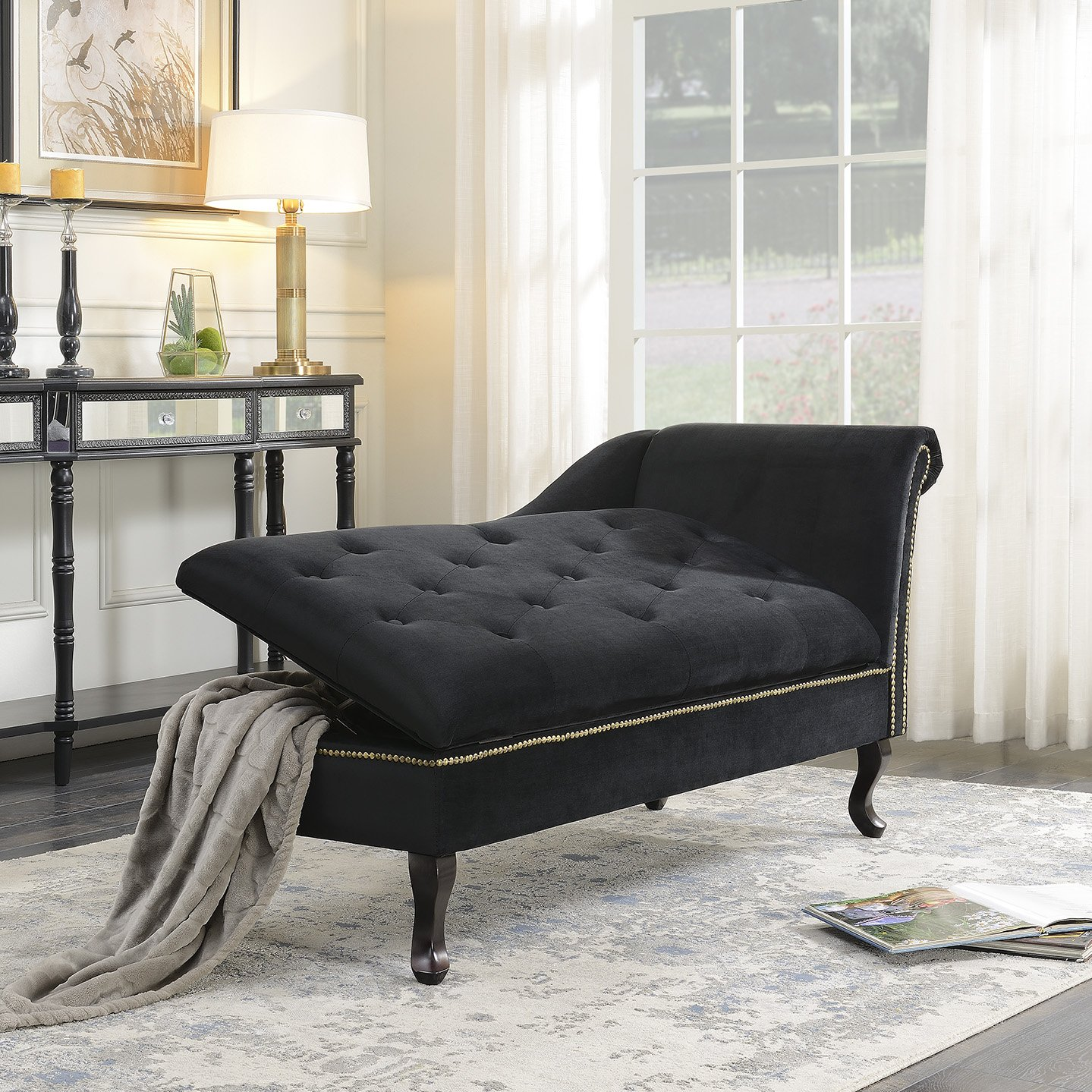 Black Belleze Velveteen Button Tufted Storage Spa Chaise Lounge Chiar Couch for Bedroom Living Room Fold Open Lid