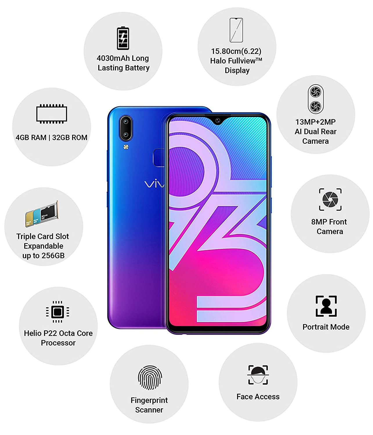 Vivo Y93 1815 (Nebula Purple, 4GB RAM, 32GB Storage) with No Cost  EMI/Additional Exchange Offers