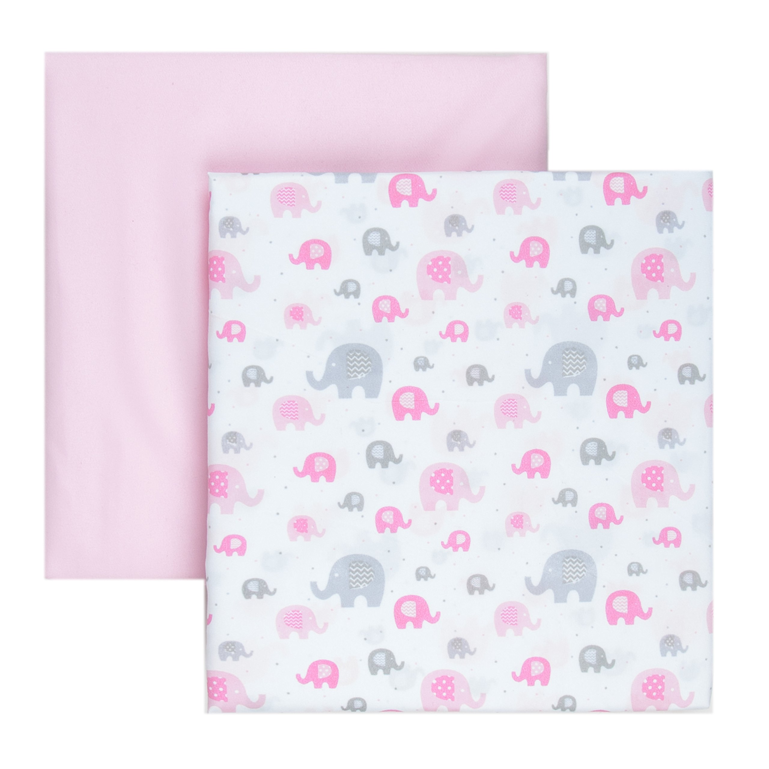 Tadpoles 2 Piece Microfiber Crib Fitted Sheets, Elephant, Pink