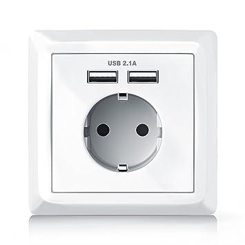 Brandson - Steckdose mit 2 x USB-Port + Abdeckung |: Amazon.de ...