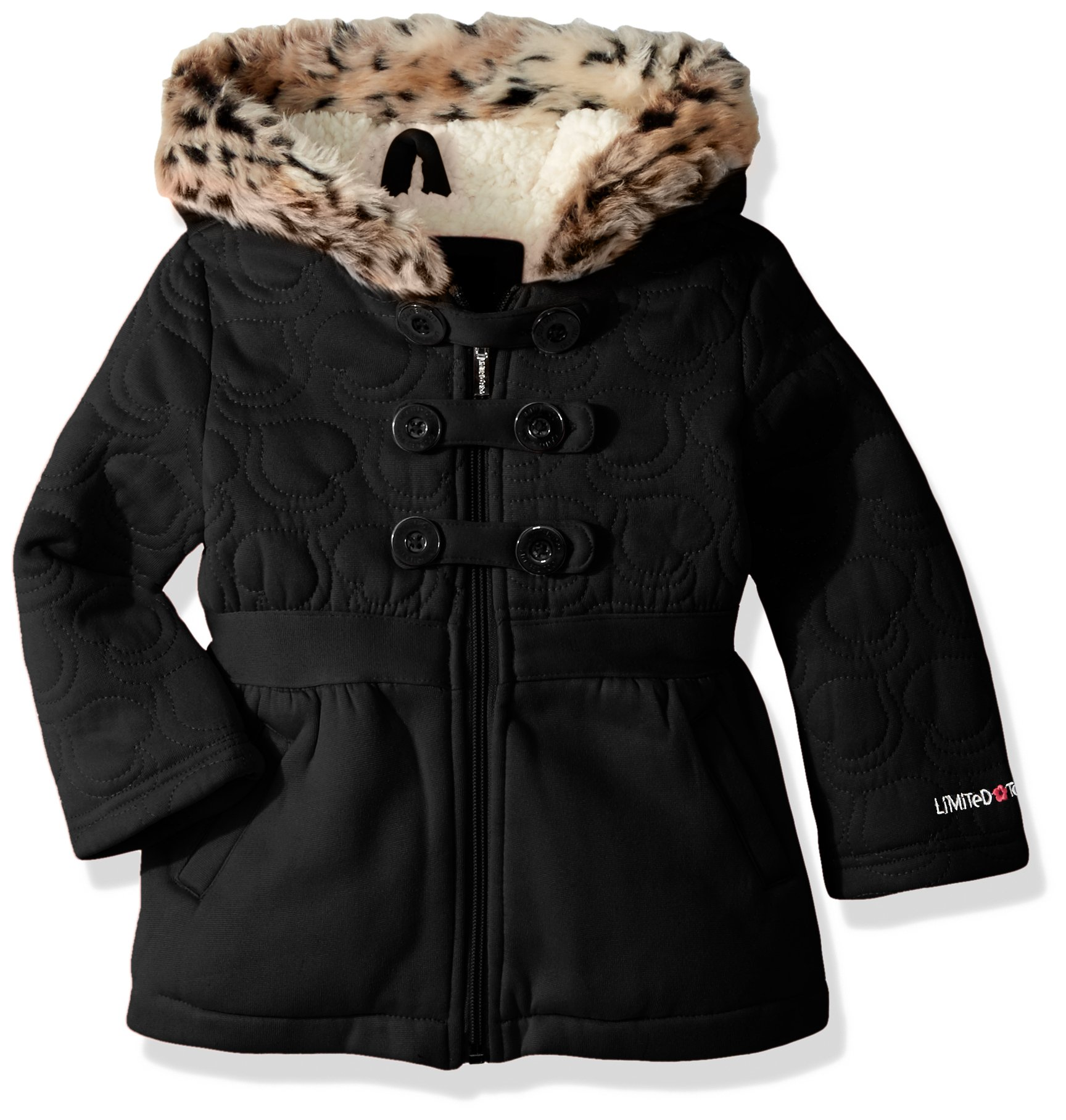 Limited Too Baby Girls Too Inf Heart Quilt Military Fleece JKT, Black, 12M
