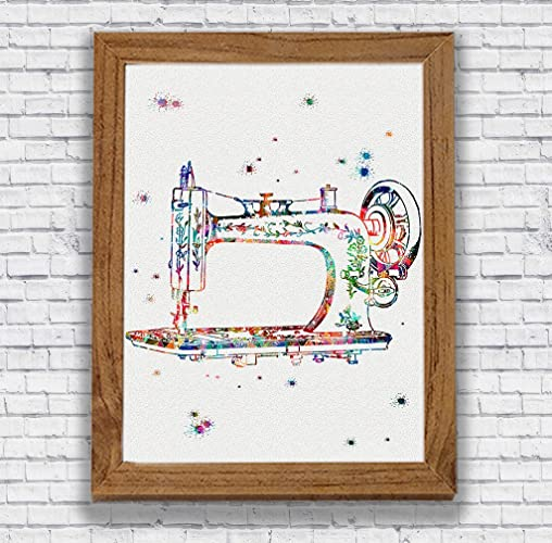 Amazon.com: Sewing Machine Watercolor Art Print Craft Room Decor ...