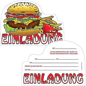 Carte Des Burger King Espagne.6 Cartes D Invitation Burger Party Pour Anniversaire D Enfant Ou
