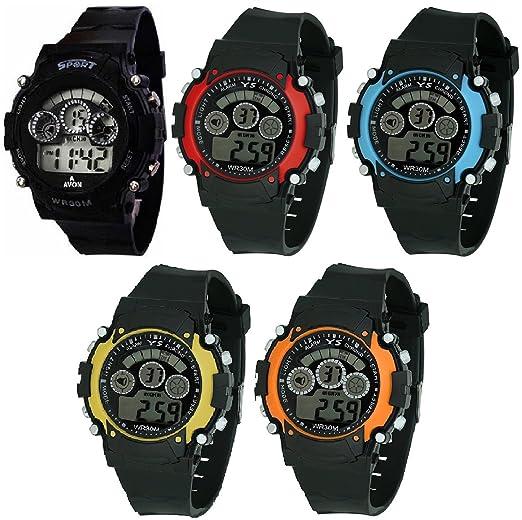 pappi Boss deportes reloj colecciones – Pack de 5 Digital reloj deportivo para los niños,
