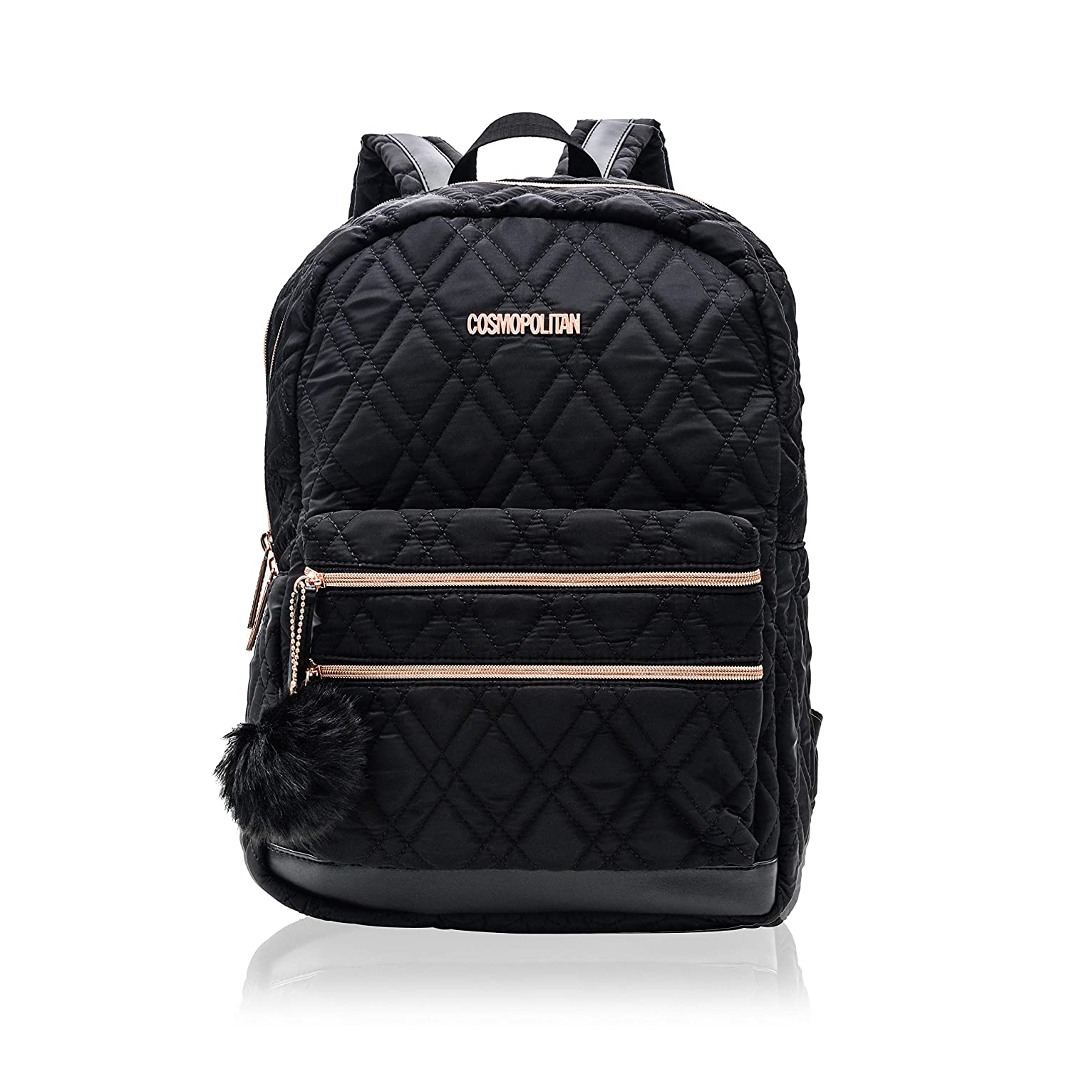 16ff95fb0 Cosmopolitan Women's Quilted Travel Backpack with Rose Gold Hardwear (Black)