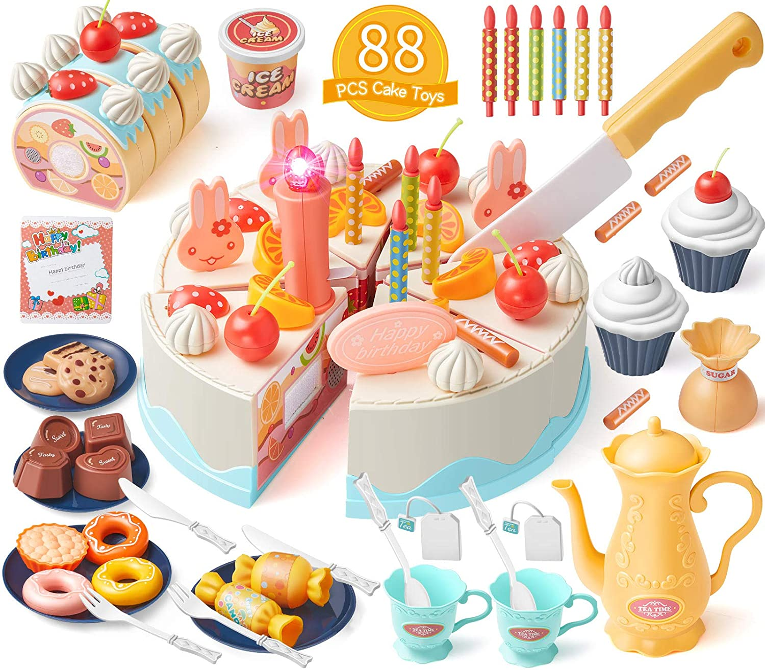 Geyiie Play Food Birthday Cake Tea Party Dessert Set with Light,88 PCS Pretend Play Cutting Food with Chocolate,Fruit Decor,Candles and More,Gift Choice for Toddlers Boys Girls