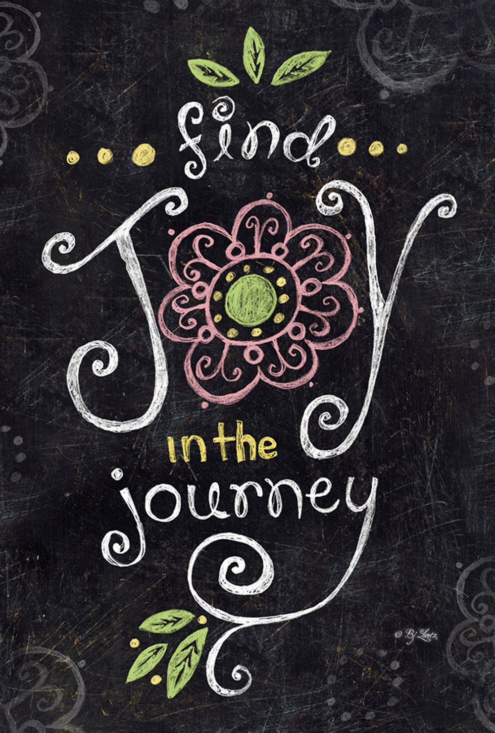Toland Home Garden Joy in the Journey Chalkboard 12.5 x 18 Inch Decorative Inspirational Double Sided Garden Flag