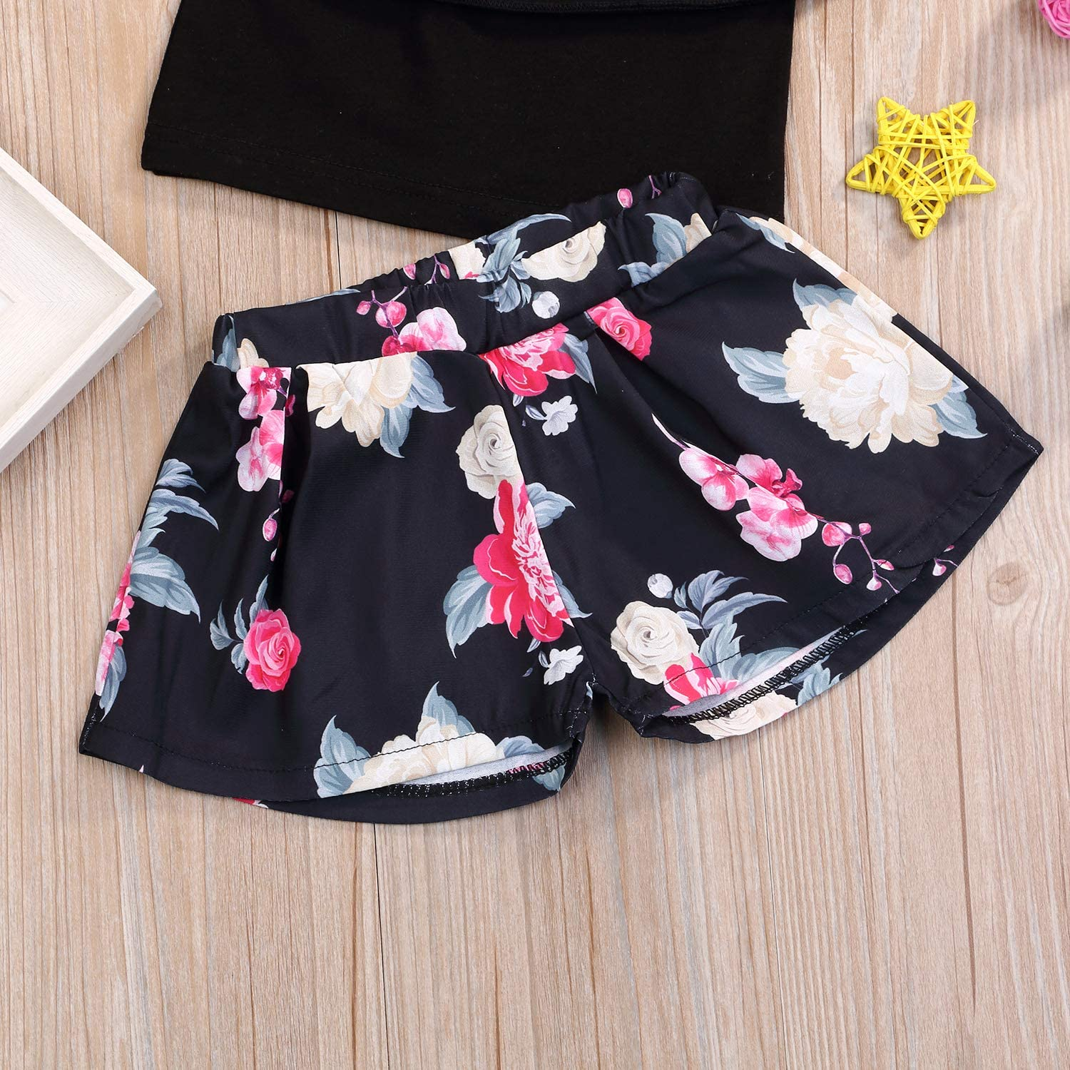 RYGHEWE Baby Girls Outfits 2Pcs Feather Dress Tops Shorts Set