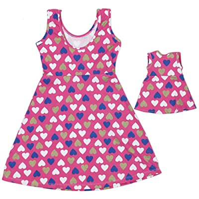 Girl and Doll Matching Dress Clothes Fits American Girl Dolls & Other 18 inches Dolls: Clothing