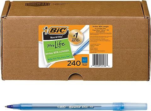 BIC Round Stic Xtra Life Ballpoint Pen 60 Count Medium Point 2-Pack Black 1.0mm