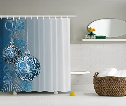 Ambesonne Christmas Shower Curtain Holiday Ornaments Fabric Digital Bathroom 6970 Blue Silver Gray