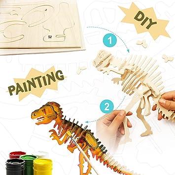 Rex 3d De Puzzle T Dinosaurio Madera Diy PXkiuZ