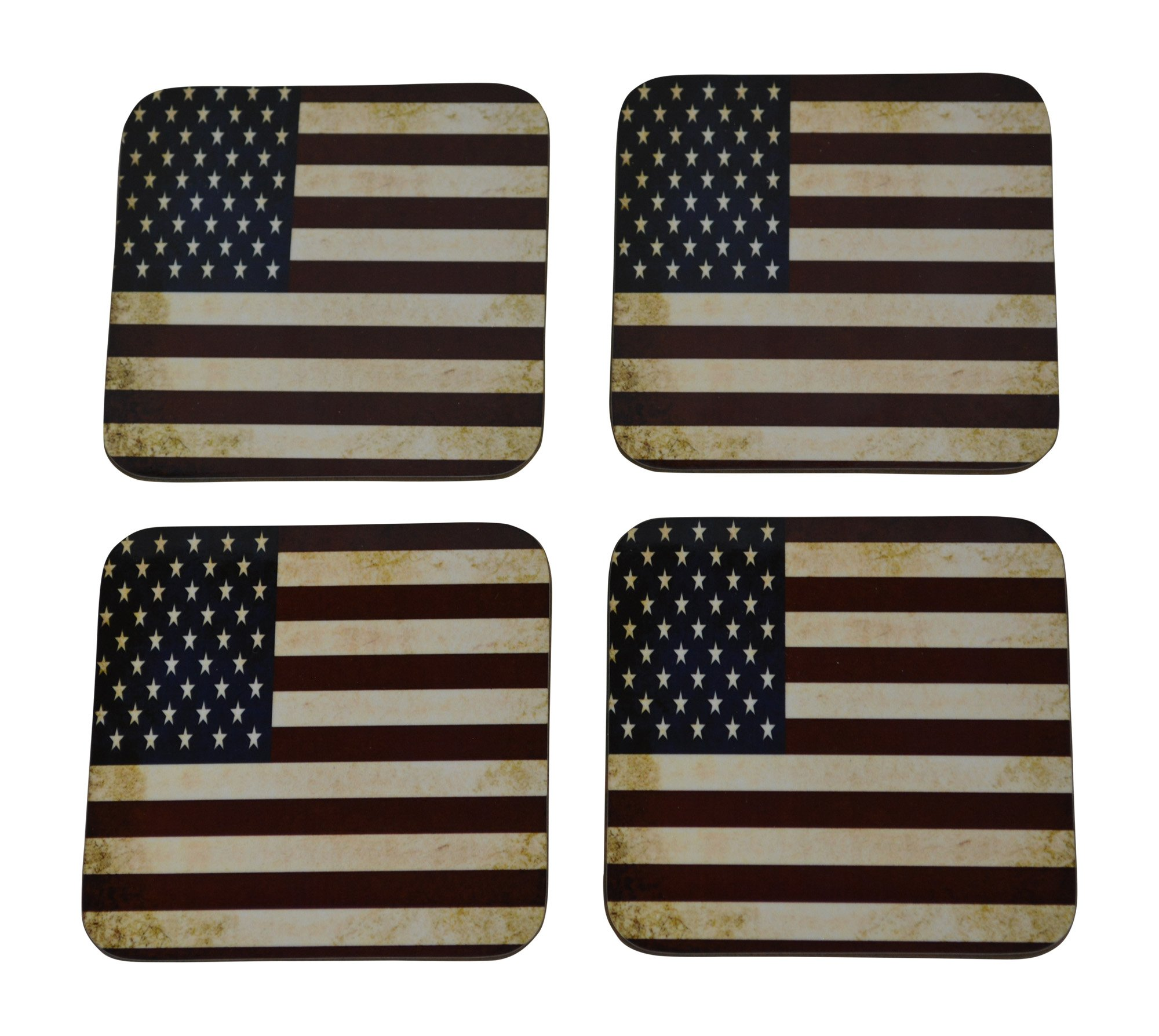 Patriotic USA Flag Drink Coaster Set Gift United States of America Home Kitchen Bar Barware Rustic