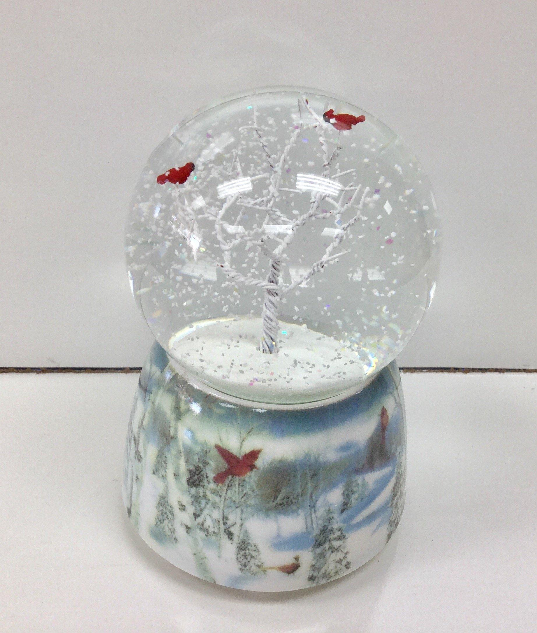 Winter Cardinals 75MM Musical Snow Globe Glitterdome by Roman (Image #2)