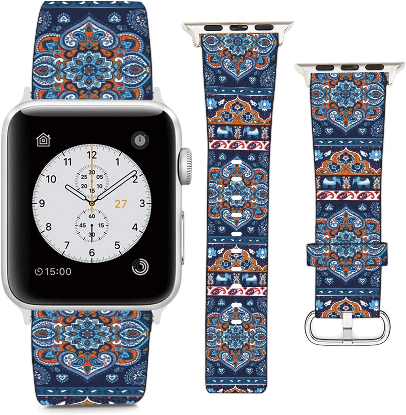 Compatible with Apple Watch Wristband 38mm 40mm, (Indian Rug Paisley Ornament Ethnic Mandala? Pattern) PU Leather Band Replacement Strap for iWatch Series 5 4 3 2 1