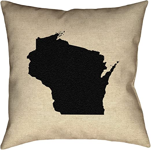 ArtVerse Katelyn Smith 16 x 16 Spun Polyester Double Sided Print with Concealed Zipper /& Insert Indiana Outline Pillow