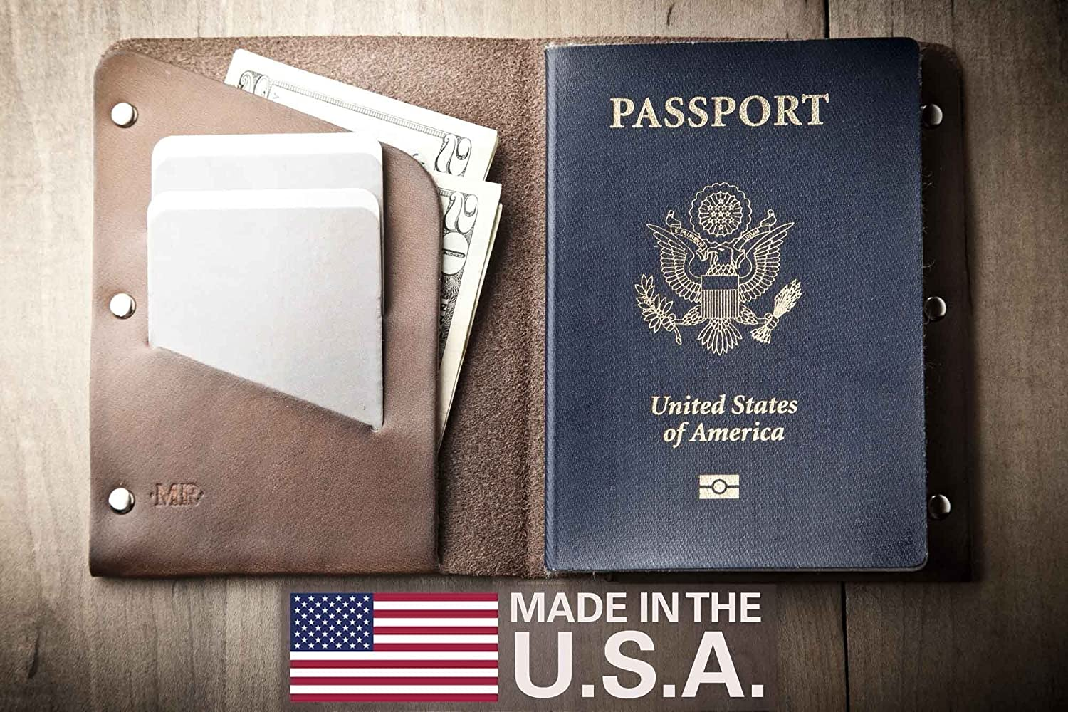Leather Passport Wallet (Made in USA by Mr. Lentz) 040