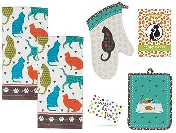 j4u gatos vida cocina - Juego de 2 toallas, manopla para horno, manopla, y Happy Tails Scented Sachet con etiqueta de regalo: Amazon.es: Hogar