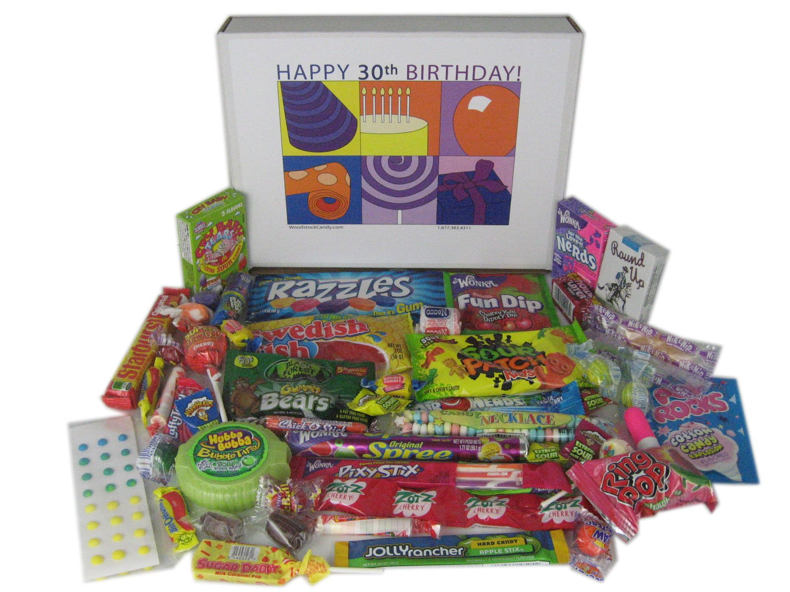 Woodstock Candy 30th Birthday Party Gift Box of Retro Nostalgic Candy for Men and Women