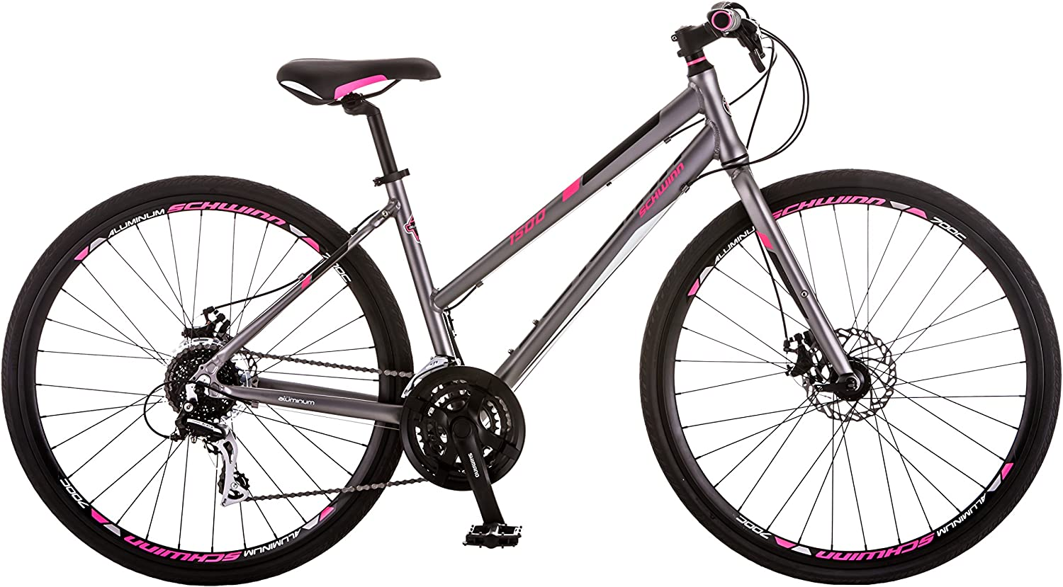Schwinn Phocus 1500 Flat Bar Sport Fitness Hybrid Bikes, 17-Inch Small Step-Through or 19-Inch Large Step-Over Aluminum Frame with Shimano 24-Speed Drivetrain, Disc Brakes, and 700c Wheels, Matte Grey