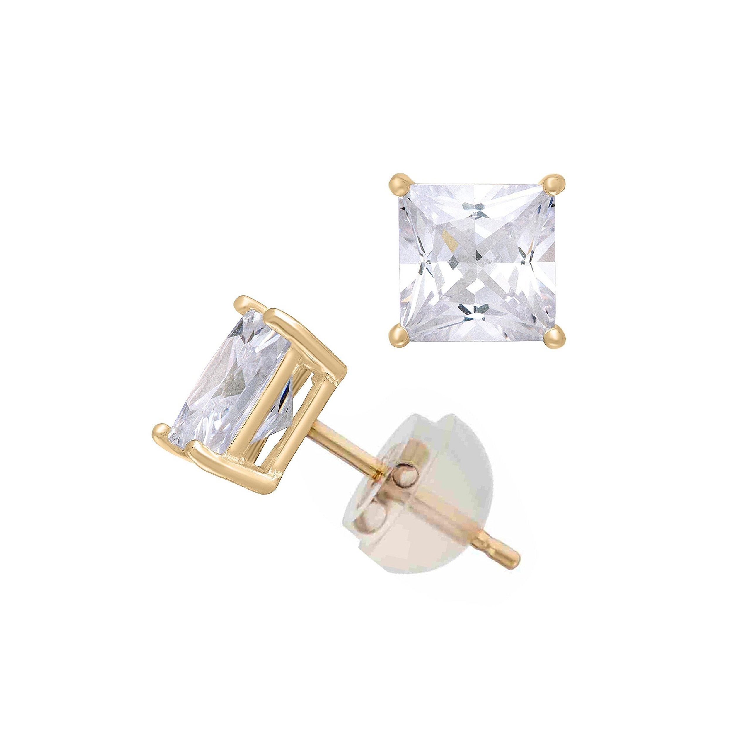 14K Yellow Gold Cubic Zirconia Princess Cut CZ 2.0 mm Stud Earring Comfort Fit