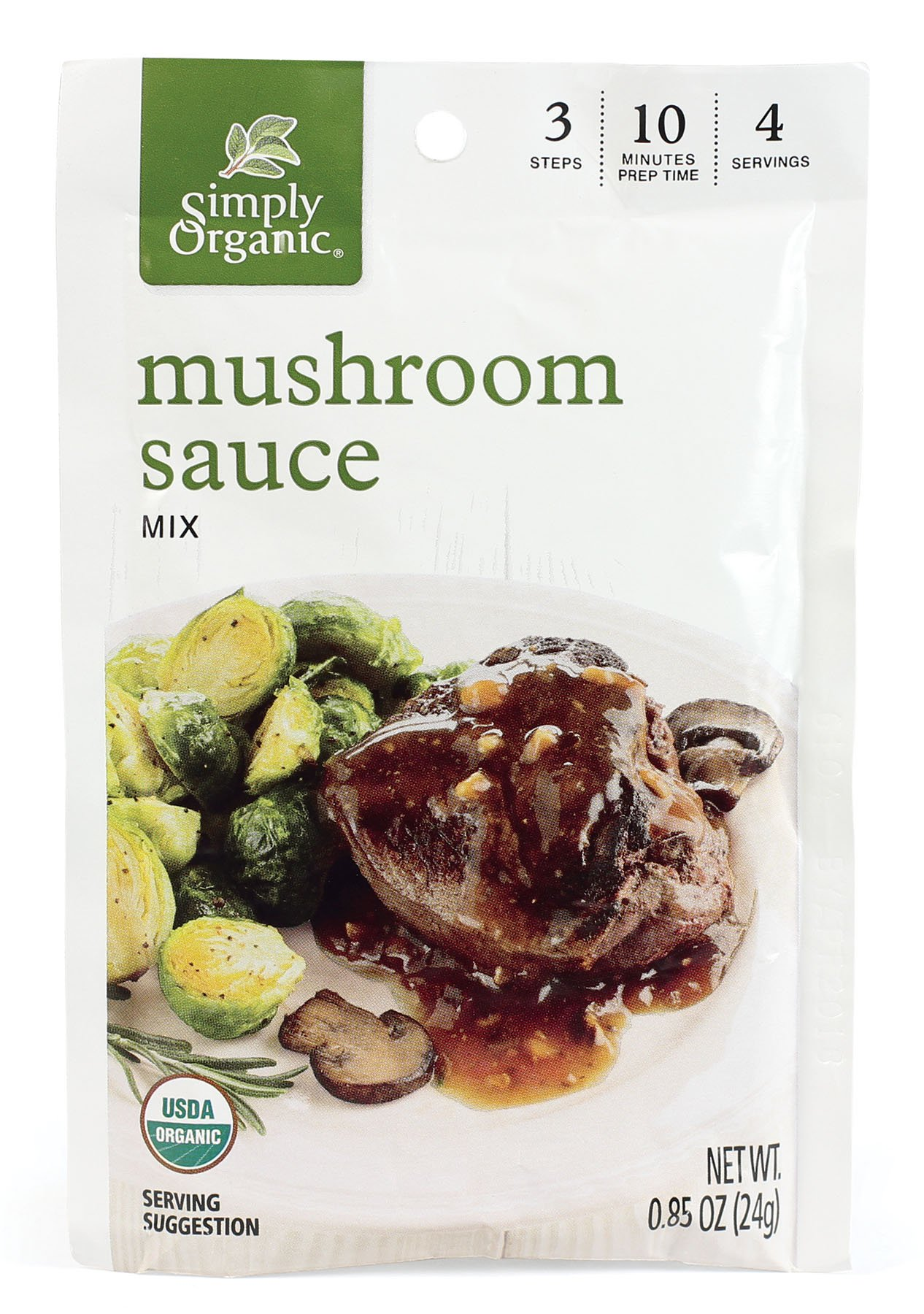 Simply Organic Mushroom Sauce, Seasoning Mix, Certified Organic, .85-Ounce Packet (Pack of 12)
