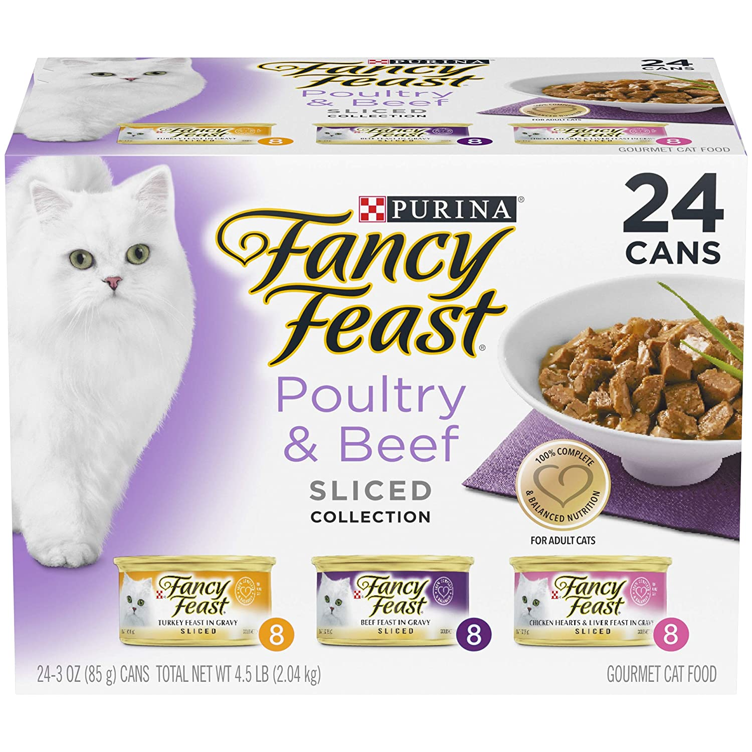 Purina Fancy Feast Sliced Poultry & Beef Collection Cat Food (24) 3 oz. Cans