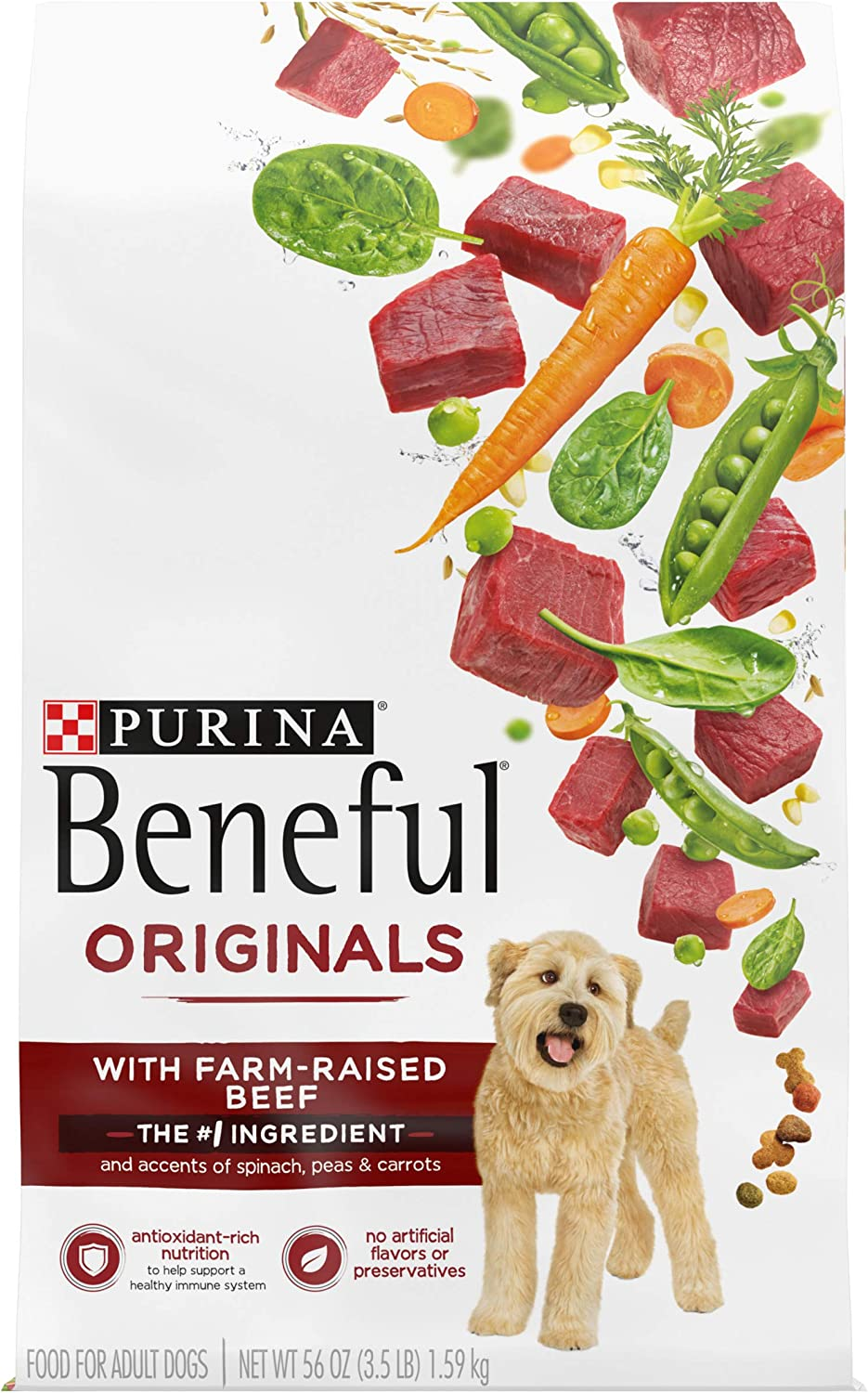 Purina Beneful Real Meat Dry Dog Food, Originals With Farm-Raised Beef - (4) 3.5 lb. Bags