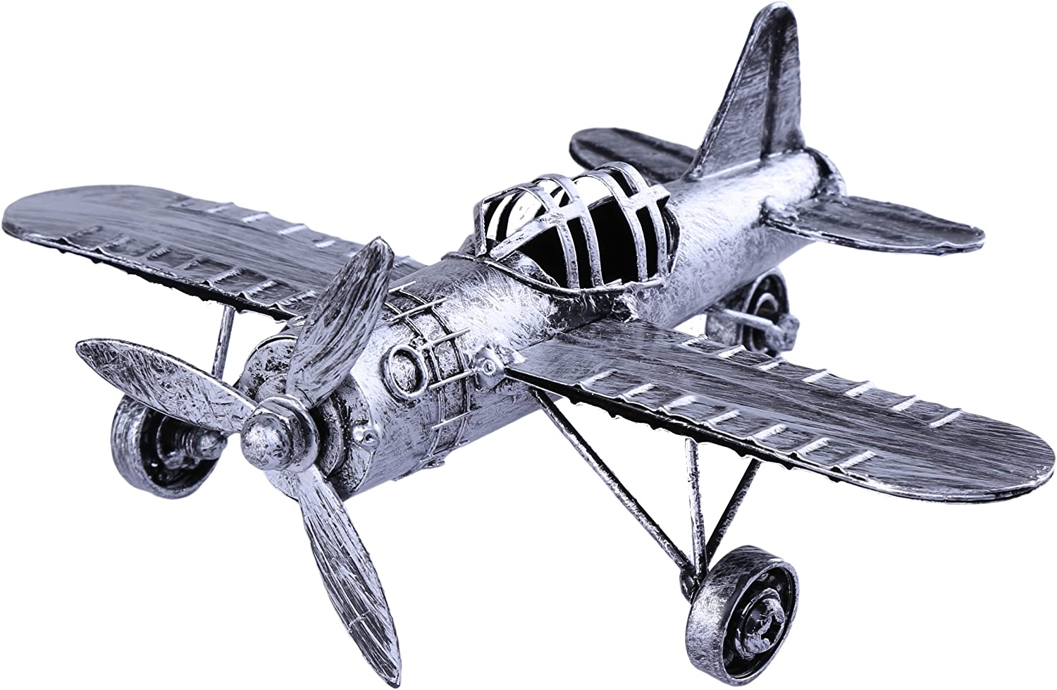 Vintage Retro Iron Aircraft Handicraft - Metal Biplane Plane Aircraft Models -The Best Choice for Photo Props Home Decor/Ornament/Souvenir Study Room Desktop Decoration (Silver01)