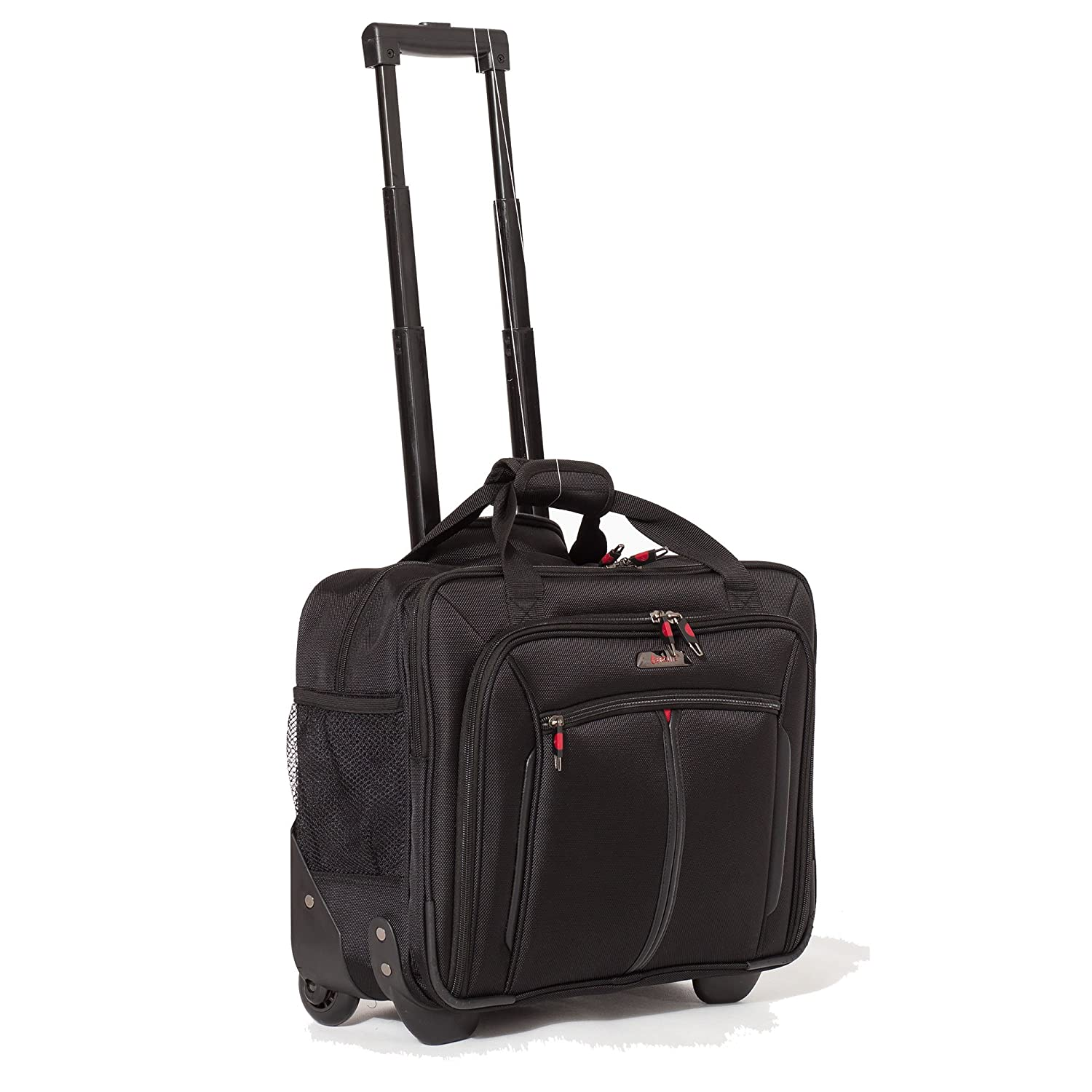 "Aerolite 17"" Executive Cabin Luggage Business Bag Laptop Bag with Wheels – Approved for Ryanair, Easyjet, BA & Jet2, Black"