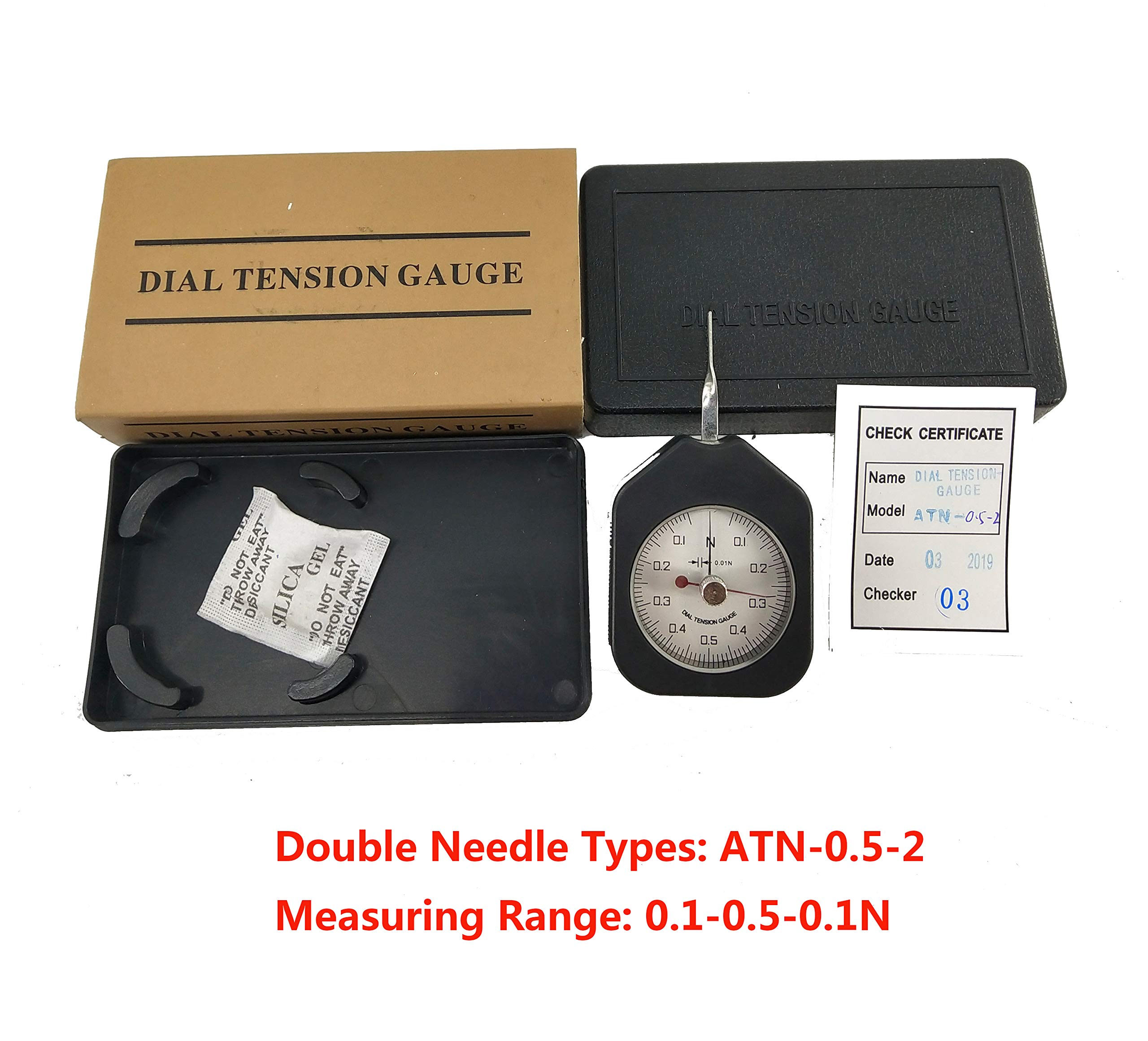 HFBTE ATN-0.5-2 Double Needle Dial Tension Gauge with 0.1-0.5-0.1N Measurement Range 0.02N Division Value by HFBTE