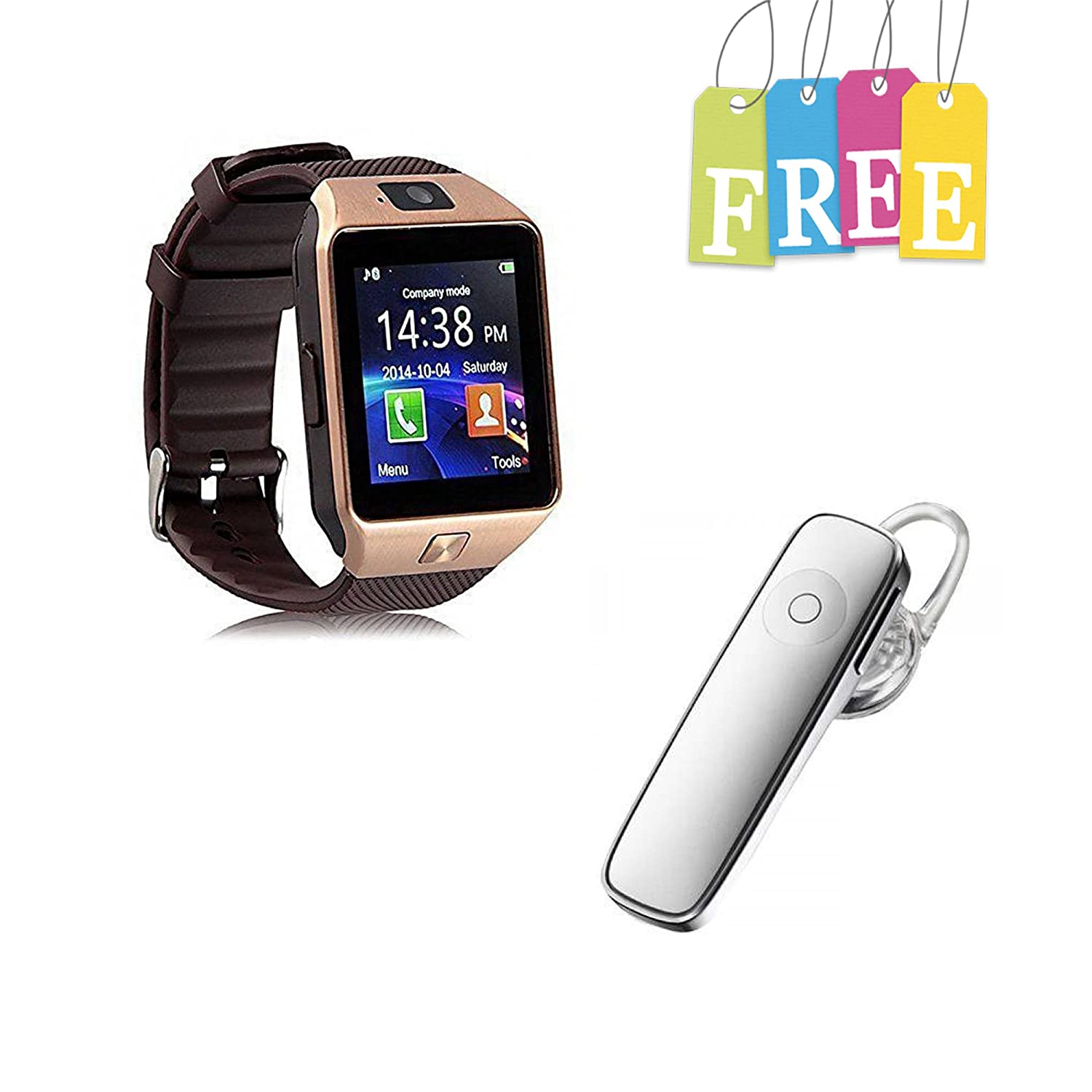 Padraig Redmi 4G Compatible Bluetooth DZ09 Wrist Watch Phone with Camera & SIM Card Support Smartwatch(Brown Strap free) With Bluetooth (v4.0) Headset Wireless Headphone With Mic (White, In the Ear)