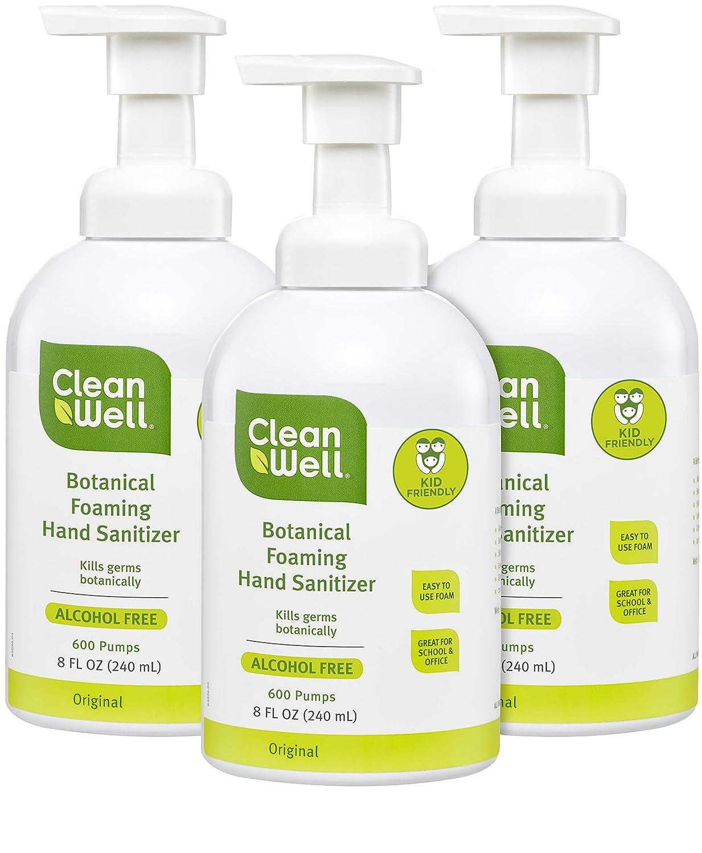 CleanWell Botanical Foaming Hand Sanitizer, Original, 8 fl oz (3 PK) - Alcohol Free, Antibacterial, Kid Friendly, Plant-Based, Nontoxic, Cruelty Free, Moisturizing Formula, Pump Bottle