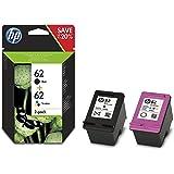 HP 62 Pack de 2 Cartouches d'Encre Noire et Trois Couleurs (Cyan, amgenta, Jaune) Authentiques (N9J71AE)