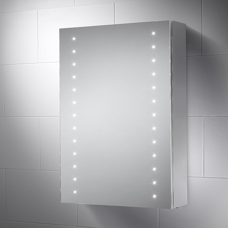 Pebble Grey 500 x 700 mm Bathroom Mirror Cabinet Sandy LED ...