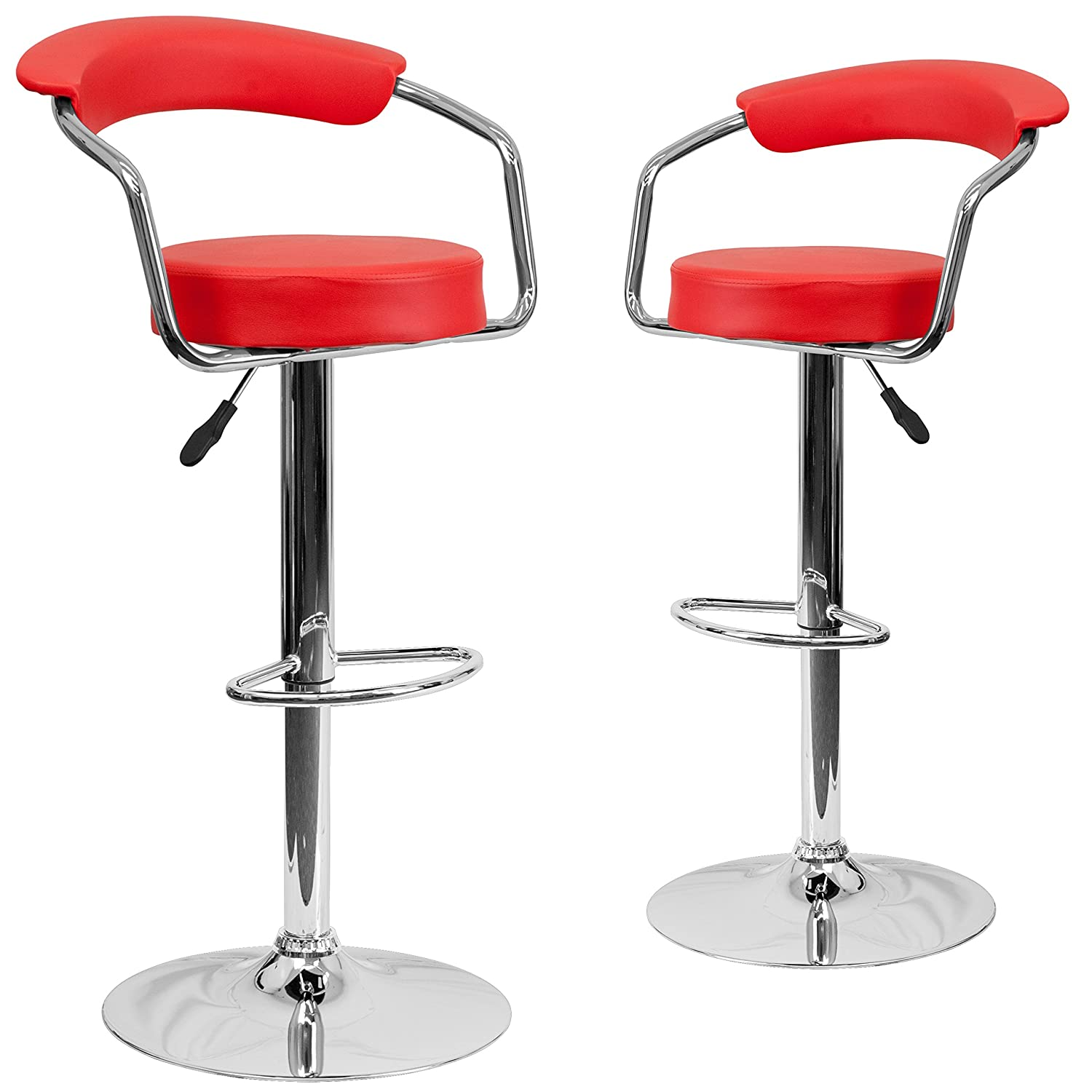 Red 2 Pack Flash Furniture 2 Pk. Contemporary Red Vinyl Adjustable Height Barstool with Arms and Chrome Base