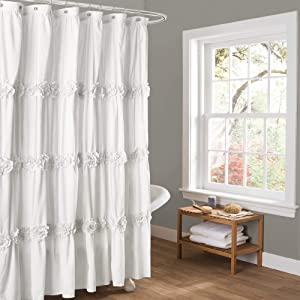 "Lush Decor Darla Ruched Floral Bathroom Shower Curtain, 72"" x 72"", White"