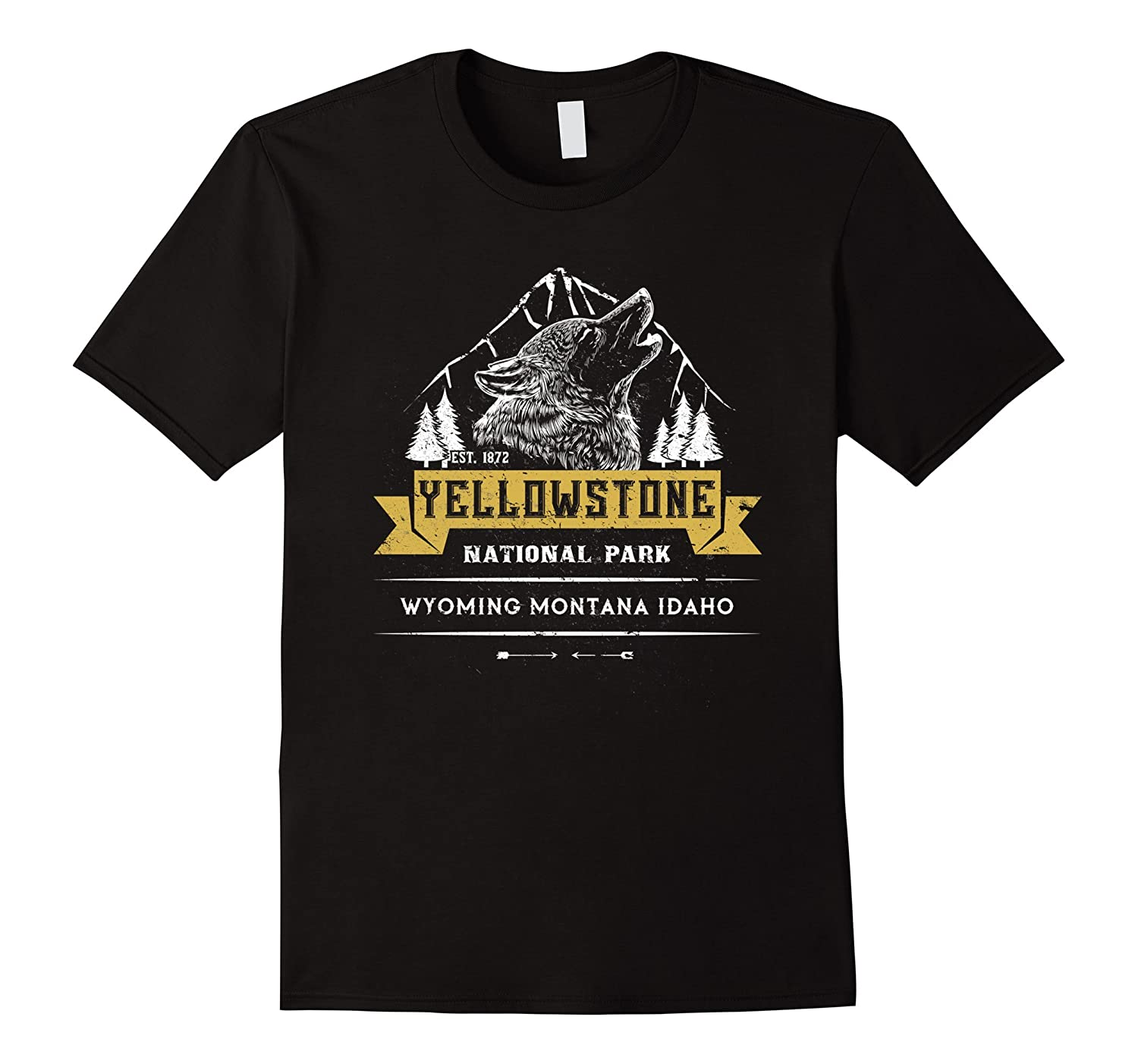 Yellowstone National Park T shirt Camp Hike Climb Wolf-T-Shirt