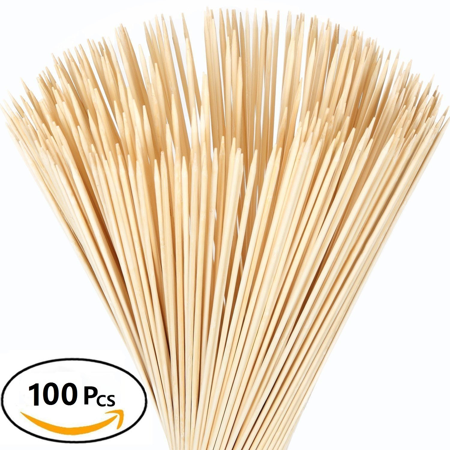 Bamboo Marshmallow Roasting Sticks with 30 Inch 5mm Thick Extra Long Heavy Duty Wooden Skewers,Moonter Barbecue Shrimp Bbq Kabob Shish Kebab Smores Skewers & Hot Dog Forks for Camping ,Party (100)