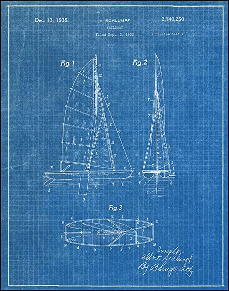 Amazon sailboat 1938 blueprint patent art print posters sailboat 1938 blueprint patent art print malvernweather Image collections