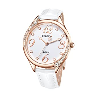 Reloj mujer blanco brillantes cristal reloj a la Moda con Correa de cuero blanco: Amazon.es: Relojes