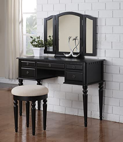 Makeup Vanity.3 Pc Makeup Vanity Set Table With 5 Drawers Stool And Mirror In Black Finish