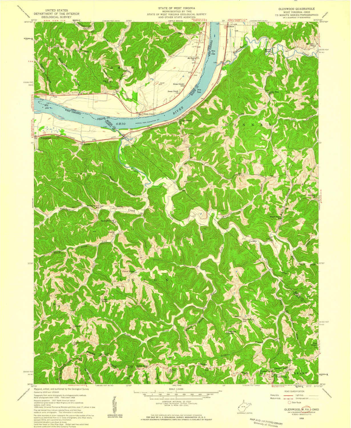 26.9 x 22.1 in 7.5 X 7.5 Minute 1958 Historical YellowMaps Glenwood WV topo map 1:24000 Scale Updated 1959