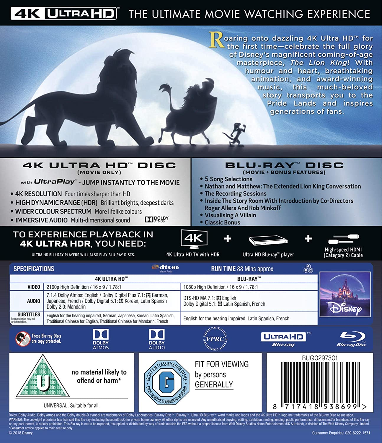 091a7fdb27b Lion King UHD  Blu-ray 4K   2018   Region Free   Amazon.co.uk  DVD   Blu-ray