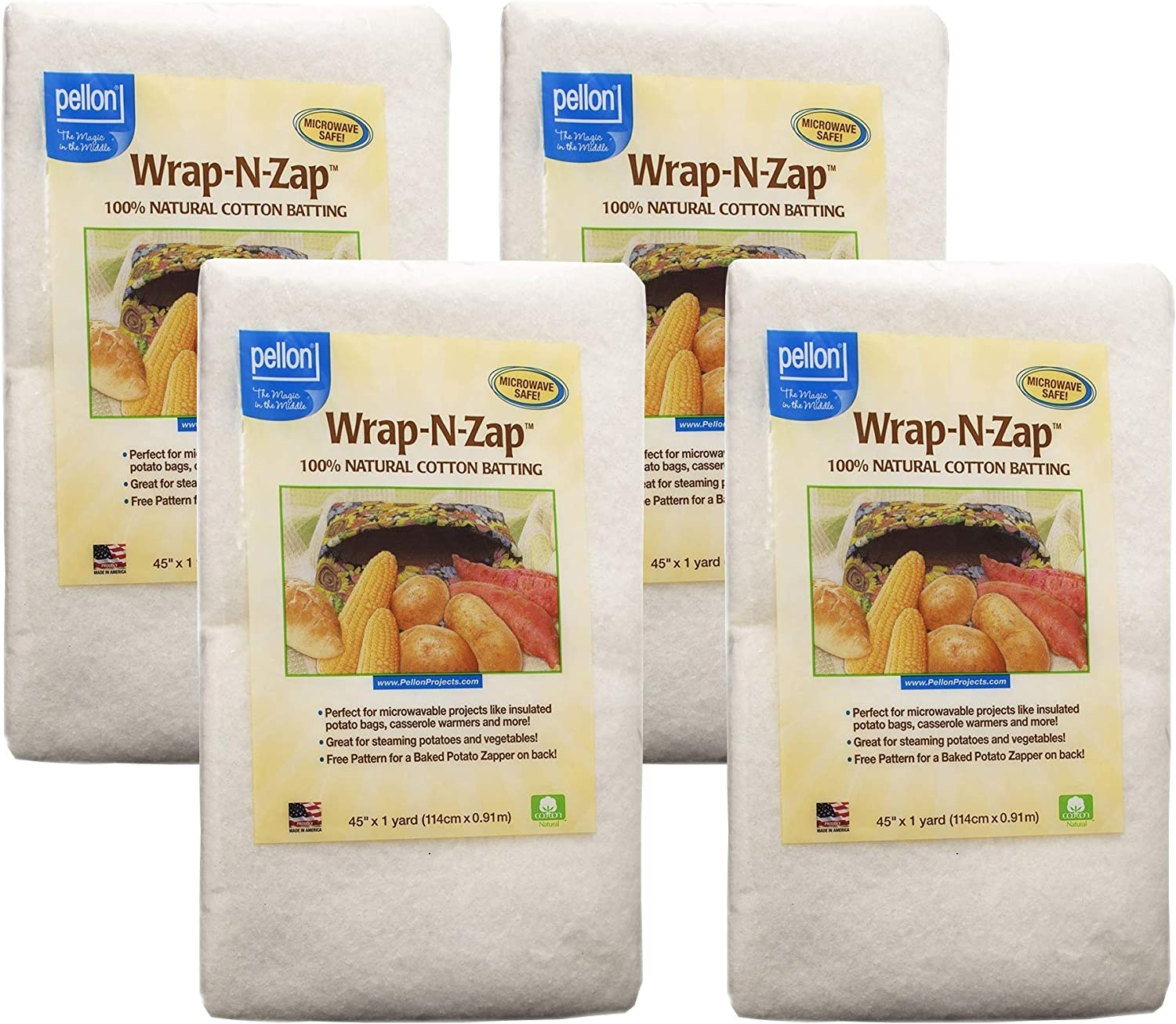 45 by 36-Inch Natural 2-Pack Pellon Wrap-N-Zap Cotton Quilt Batting