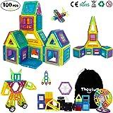 Theefu® Bloques de Construcción Magnéticos Set Arco Iris con 100 Piezas Inspira Set Estándar de Construcción - Juguetes Creativos y Educativos – Bolsa de Almacenamiento