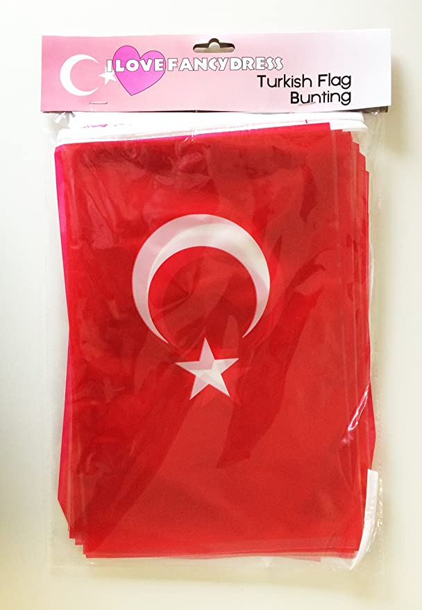 TURKEY BUNTING 33FT TURKISH FLAG DECORATION 20 FLAGS 10 METRES EURO FOOTBALL /'16