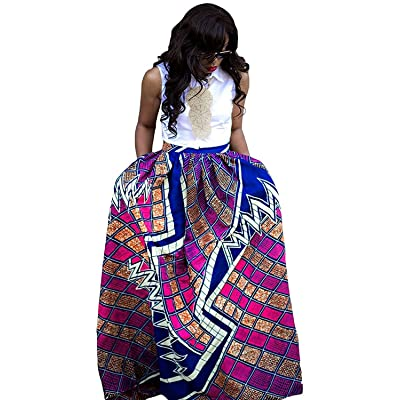 Women's Casual African Print Dashiki Maxi Long Skirts A Line Dress With Pocket