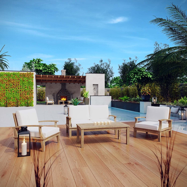 modway eei 1469 nat whi set marina premium grade a teak wood outdoor patio furniture set 4 piece natural white